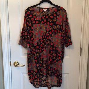 LuLaRoe l Black Rose Print High- Low Tunic